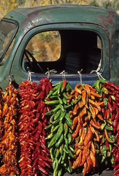 Colorful chile ristras hang from the window of an old pickup at Elizabeth Berry's ranch near the village of Abiquiu in northern New Mexico