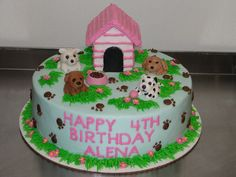 baby shower cookies for a girl | puppy birthday cake for a little girl who loves puppies.