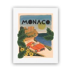 "This Rifle Paper Co.® art print is created from an original gouache painting of Monaco by Anna Bond. This print is perfect if you yearn to travel or want to fondly remember your last trip. Each print is archival printed on natural white cover paper. 8"" x 10""."