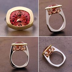 We just completed a new edition to our Pelagia collection. An absolutely stunning carat oval cut pink tourmaline from set… Pear Shaped Engagement Rings, Leaf Engagement Ring, Thin Gold Rings, Silver Ring, Pink Tourmaline Ring, Bridal Rings, Diamond Wedding Bands, Gems, Pink Ring