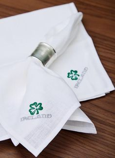 Blarney Irish Linen Embroidered Napkins x - Irish Design, Woolen Mills, Napkins Set, Embroidery, How To Make, Needlepoint, Crewel Embroidery, Embroidery Stitches