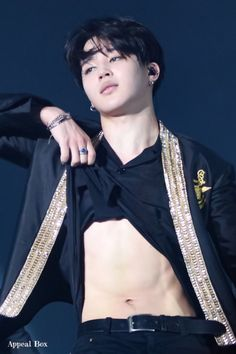 Jimin doesn't seem to enjoy showing his abs...