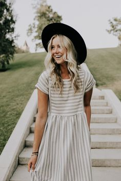 Heather Grey Striped Dress | ROOLEE