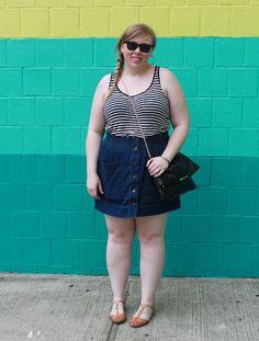 DIY FATSHION - ootd, fatshion, blogger, psblogger, h, old navy, denim skirt, stripes