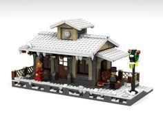 Lego Christmas Train, Lego Christmas Village, Lego Winter Village, Holiday Train, Lego Train Station, Lego City Train, Lego Trains, Gare Lego, City Layout