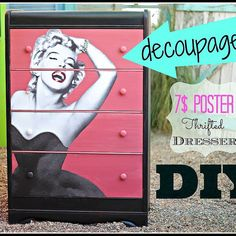 DIY Decoupaged Dresser With a $7 Dollar Poster.