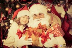 Santa Claus and little girl... Thank you for the presents Santa www.teelieturner.com #Christmas