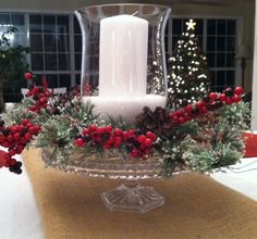 Christmas Centerpiece using epsom salt for snow and a cake plate for a stand: