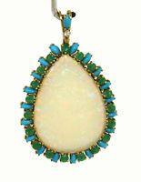 Vintage 18k Y/Gold 62.55ctw Fire Opal, Emerald, Diamond & Turquoise Pendant