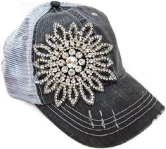 Trucker hat with bling flower detail stitched. I want it!