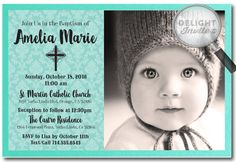 Tiffany Blue Aqua Girl Baptism Invitations [DI-806] : Custom Invitations and Announcements for all Occasions, by Delight Invite, girl theme baptism christening invitations, christening ideas for girls, baptism invites, professionally printed, 2 piece hand mounted on metallic sparkly card stock, hand made baptism christening invitations for girls
