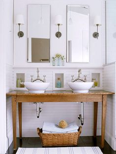 "This is how I want my bathroom. but due to the cost of vessels... and we would have to gut the main bathroom to re-route the plumbing.... We are going to wait until the kids are out of the ""wreck everything in sight"" phase"