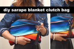 DIY sarape blanket clutch bag