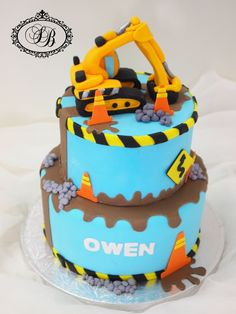 G teau baby shower gluten free cake blue with nattou for Digger cake template