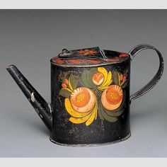"""TEAPOT/ Buckley Shop (act. 1807–c. 1840) ; possibly Oliver Buckley, c. 1815–1835, paint on tinplate, 5 3/8 × 5 × 3 1/2"""". Gift of the Historical Society of Early American Decoration, 58.13.30. Photo credit: John Parnell"""