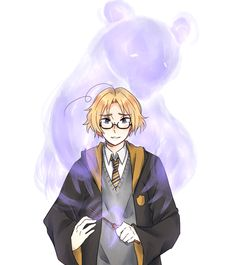 """The Patronuses by Patychan.deviantart.com on @DeviantArt - Matthew (and Kumajirou) in a crossover between Hetalia and """"Harry Potter"""""""
