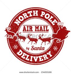 North Pole Delivery Grunge Rubber Stamp On White Background Vector
