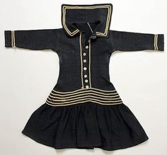 A child's simple wool sailor dress, 1882.