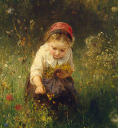 Ludwig Knaus A detail of Girl in a Field, 1857, oil on canvas, 50 x 61 cm, Hermitage Museum, St. Petersburg.