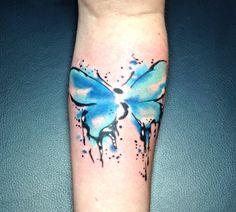 Semi colon watercolor butterfly by Robert Winter