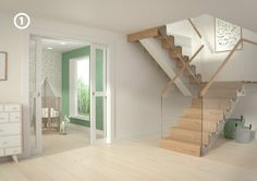 Eik trapp Modern Interior, Interior And Exterior, Interior Design, Floating Staircase, Modern Stairs, Interior Stairs, House Stairs, My Room, Townhouse