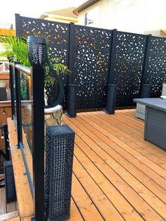 Backyard Privacy Screen, Deck Privacy Screens, Outdoor Privacy Panels, Patio Deck Designs, Patio Design, Garden Design, Outdoor Landscaping, Backyard Patio, Outdoor Living