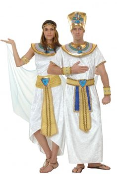 Costume coppia egiziana: se vi hanno invitati ad una festa a tema sull'Antico Egitto, questo travestimento di coppia da regina d'Egitto e faraone sarà la scelta obbligata per una serata di sicuro successo. Sarete la coppia più affascinante ed elegante della festa!