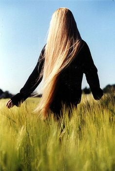 Amazing long blonde hair and blue skies