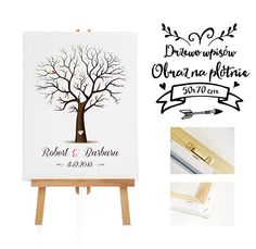 Ślub - inne-Obraz na płotnie Drzewo wpisów gości - 50x70 cm