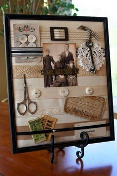 Create a shadow box for an ancestor photo. Sewing Crafts, Sewing Projects, Craft Projects, Sewing Kits, Molduras Vintage, Family Collage, Diy And Crafts, Paper Crafts, Heritage Scrapbooking