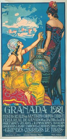 Curiosidades de Andalucía: Cartel de las fiestas del Corpus de Granada, de 1921 / Curiosities of Andalucía: Poster of the Corpus festivities in Granada, 1921  Spain Travel  Zugriff auf unsere Website Viel mehr Informationen  http://storelatina.com/espana/travelling #Spānija #Испания #ස්පාඤ්ඤයයි #Espanja