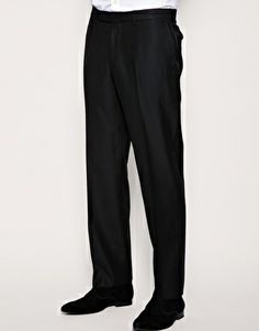 Samuel would have a pair of nice black dress pants to match his suit.