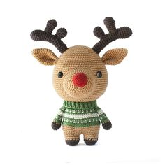 Crochet Rudolph with this cute amigurumi pattern! Find this adorable pattern and more Christmas inspiration at LoveCrochet.Com.