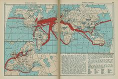 """Map - World Trade, 1936    From the 1936 textbook """"Human Use Geography, Book Two"""". Found on the book sale shelves at the local library."""