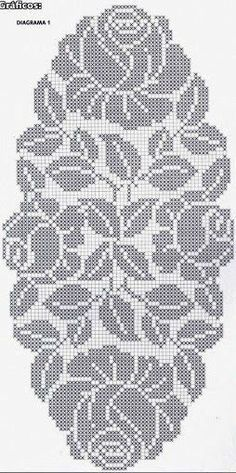 How to a Beautiful Rose Flower in Filet Crochet: Filet Crochet Rose Chart Filet Crochet Charts, Crochet Doily Patterns, Crochet Cross, Crochet Diagram, Crochet Home, Thread Crochet, Crochet Motif, Crochet Designs, Crochet Doilies