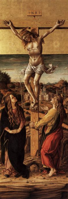 Carlo Crivelli, Crucifix with the Virgin and saint John the Evangelist, 1486