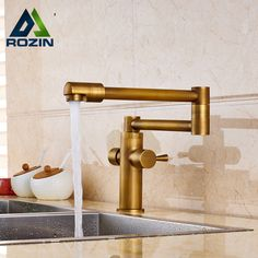 $63.60 | Brass Antique Dual Handle Bathroom Kitchen Sink Faucet Stretch and Folding Neck Hot and Cold Mixer Taps