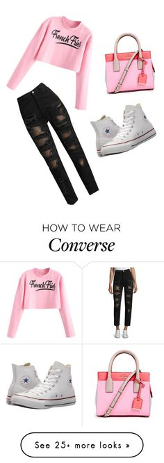 """Tickled pink"" by grace-mccallister on Polyvore featuring Tommy Hilfiger, Converse, Kate Spade, contestentry and NYFWHotPink"
