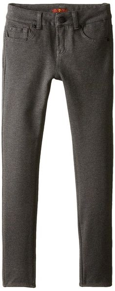 7 For All Mankind Big Girls' The Skinny Double Knit Stretch Ponte Jean In Charcoal Gray, Heather Charcoal, 8