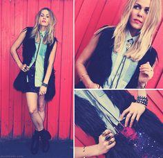 Somedays Lovin Denim Shirt, Evil Twin Galaxy Skirt, Boo Hoo Ankle Boots, Market Hq Double Skull Cuff, Fur Vest