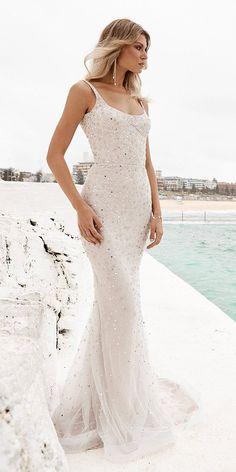 51 Best Beach Wedding Dresses For Seaside Ceremony ❤ beach wedding dresses mermaid with spaghetti straps sequins one day #weddingforward #wedding #bride