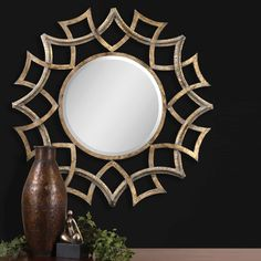Shop for Uttermost Demarco, Round Mirror, 12730 B, and other Accessories Mirrors at Shofers in Baltimore, MD. This ornate mirror features an antiqued gold finish with a light gray glaze and burnished edges. Mirror has a generous 1 bevel. Gold Sunburst Mirror, Antique Gold Mirror, Ornate Mirror, Metal Mirror, Round Wall Mirror, Round Mirrors, Wall Mirrors, Mirror Mirror, Decorative Mirrors