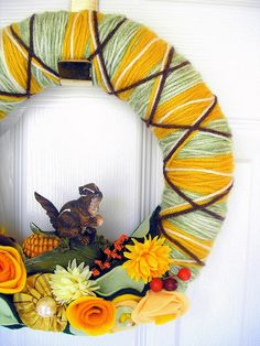 Argyle Chipmunk Yarn Wreath by KnockKnocking, via Flickr