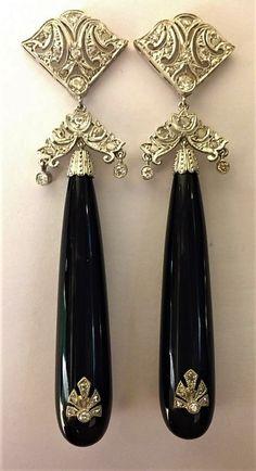 Relojes y joyas Clip en Look Vintage Negro Azabache Facetado De Vidrio Cristal pendientes de diamantes de imitación de plata