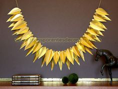Christmas decor Golden garland Christmas decoration Leaf banner Gold decoration Home decor Ornament KH-0303 by TransparentEsDecor