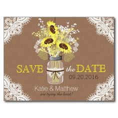Rustic Sunflower And Lace Save The Date Postcard