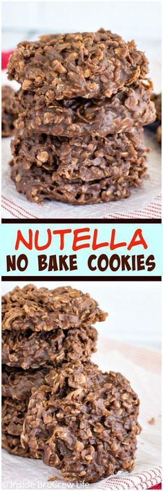 Nutella No Bake Cookies - these easy cookies are loaded with coconut oats and chocolate spread. Awesome no bake dessert recipe! Nutella No Bake Cookies - these easy cookies are loaded with coconut oats and chocolate spread. Awesome no bake dessert recipe! No Bake Desserts, Easy Desserts, Delicious Desserts, Dessert Recipes, Yummy Food, Baking Desserts, Desserts Nutella, Holiday Desserts, Healthy Desserts