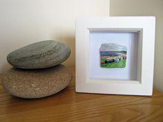 Miniature Beach Huts Painting on Scottish Sea Pottery Framed