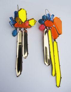 earrings by nikki couppee  plexiglass brass sterling silver  www.nikkicouppee.com