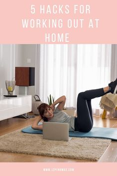 5 simple hacks to improve your at home workouts. If you are having trouble working out at home check out these tips to help keep you motivated for working out. Home Exercise Routines, At Home Workout Plan, Workout Routines, Workout Ideas, Workout Motivation, Workout Challenge, Fun Workouts, Lazy Girl Workout, Best Gym Workout